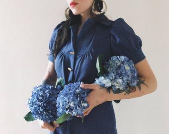 Vintage 70s Cornflower Blue Sweaterheart Jumpsuit XS