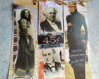Altered Vintage Bookmark/Tags