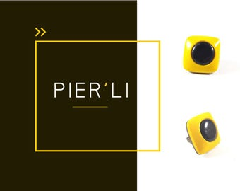 Yellow and black square ring © PIER'LI
