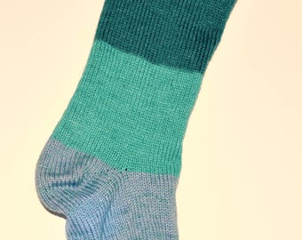 Aqua Sea foam Knit Christmas Stocking Extra Large