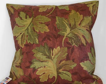 Autumn Leaf Pillow Cover, Fall Pillow Cover Leaves on Rust Background, Rust and Olive Green Pillow Cover