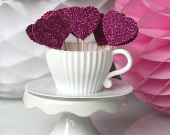 10 cupcakes (cupcake toppers) toppers - pink hearts with glitter