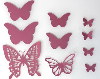 Set of 10 butterflies pink hydrangea