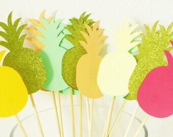 Set of 5 peaks pineapple - home decor - yellow, peach, glitter, fuchsia, mint Green