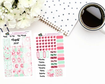 Planner Stickers | August Monthly Kit|Build a Month in your Journal| Travelers Notebook|A5 Planner Stickers|Monthly Stickers|AugustMonthly