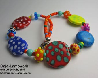 Colorful dots necklace made of handmade flat glass beads