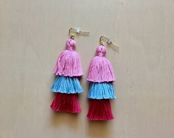 Handmade Pink and BlueTiered Tassel Earrings, Fringe Tassel Earrings, Stacked Tassel Earrings, Fringe Drops, ombre fringe drops, Valentine