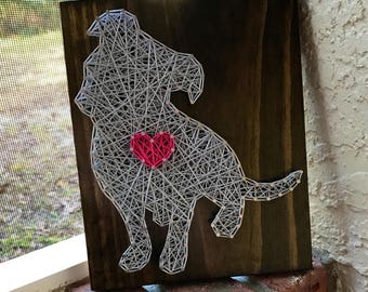 MADE TO ORDER - Pitbull with Heart String Art Wooden Board- Dog, Pet