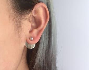 Ball disc back earrings, disc ear jack earrings