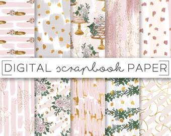 Bridal Wedding Pastel Print Digital Scrapbook Paper Watercolor Gold Glitter Abstract Pattern Hand Drawn Eucalyptus Floral Gold Foil Cakes