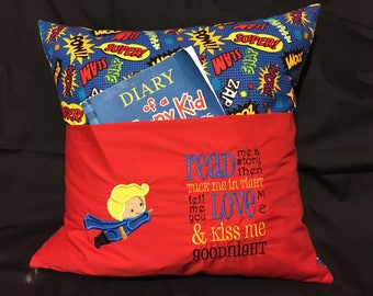 Reading Pillow, READY TO SHIP, Throw Pillow, Kids Travel Pillow, Embroidered Pillow, Boys Gifts, Book PIllow, Book Pocket, Super Hero Pillow