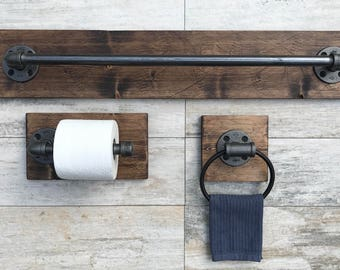 rustic wood bathroom accessories. Industrial Modern Rustic Bathroom set of 3 Bath Towel Holder Toilet Paper  Hand bathroom Etsy