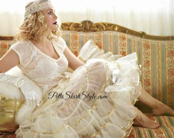 Crinoline petticoat Gold TEA Length Retro 1950s Slip Many Colors