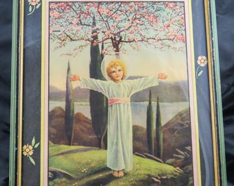 """Framed Religious Print """"Come Unto Me"""" by Collier Holy Child Jesus Berlin Germany Vintage"""