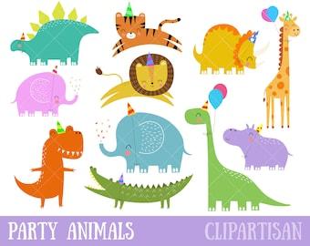 Birthday Party Animals Clipart | Dinosaur Clip Art | Safari Animals / Animal Party Clipart Set