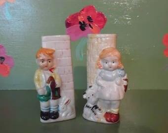 Ceramic Girl Boy Match Stick Holders Fireplace Bud Vase Dog Bunny Rabbit Brick Shelf Home Decor Mid Century Modern Retro Vintage Japan