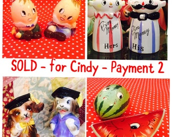 SOLD - for Cindy - Layaway Payment 2 - Relco Pin Banks and 3 sets PY S&P Shakers made in Japan circa 1950sa