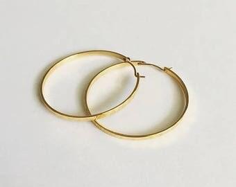 VACATION SALE Hammered Gold Hoop Earrings / Minimalist Earrings