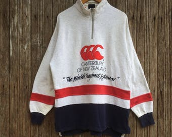 Rare!! Vintage Canterbury Rugby Half zipper Sweatshirt Jumper Pullover Embroidery Logo Large size