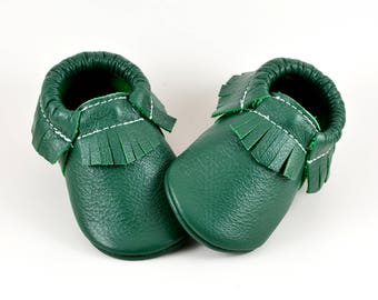 Baby Moccasins Kelly Green Saint Patricks Genuine Leather Moccs Newborn Boys Girls Kids Toddler Soft Soled Shoes Handmade Prewalker Booties
