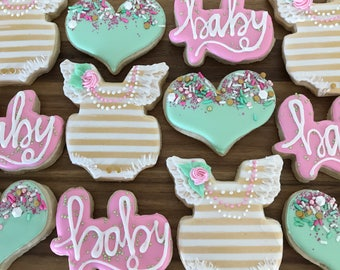 Baby girl/baby shower/baby shower cookies/baby romper/ it's a girl/ sugar cookies