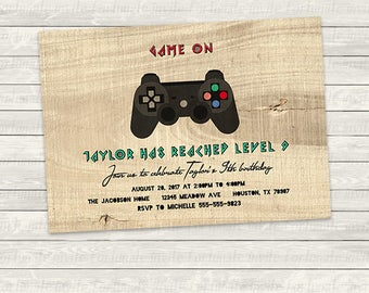 gamer birthday invitation printable, video game controller, playstation party, game on, any age, faux wood grain digital or printed invites
