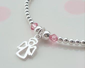 Angel Bracelet, Sterling Silver, Angel Charm Bracelet, Silver Bead Bracelet, Stacking Bracelet, Children's Bracelet, Flower Girl Gift