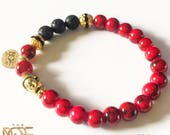 Men's Beaded Bracelet, Deep Red Coral Bead Bracelet, Gold Plated Tibet Buddha Head Bracelet, Handmade Bead Bracelet, 8mm Men's Bead Bracelet