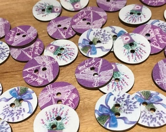 24mm Wooden Buttons with Flowers and Dragonflys!! 2 hole, Round mixed Pattern, 10 pack