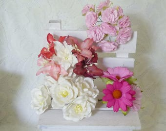 Daisy lily peach carnation 25 pcs.mixed White pink Paper flower Mulberry paper Flower with wire stems Flower paper Scrapbook Embellishment .