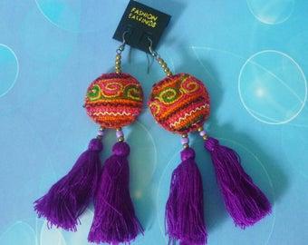 Ethnic earrings purple -tassel beaded earrings -Hill tribe earrings -ear wire earrings -boho earrings