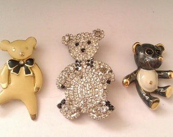 3 teddy brooches