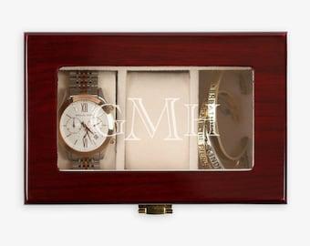 Monogram 3 Slot Wood Watch Case   Wooden Watch Box   Custom Watch Box