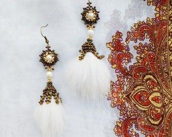 Beaded Mink Fur Dangle Earrings