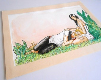 painting original watercolor and ink, romantic couple NAP in nature - Sweet dreams @Méka - drepth