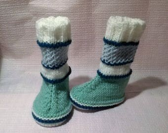 Green, blue and white baby boots booties made hand size 0/6 months
