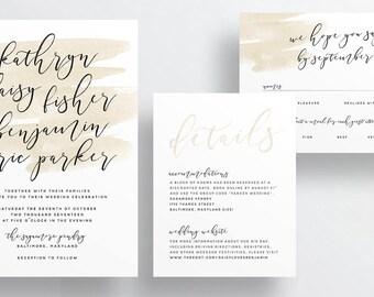 watercolor wash calligraphy wedding invitations // neutral taupe watercolor splash invites // earthy beach wedding //custom PRINTED invites