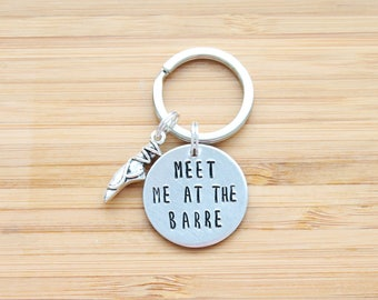 hand stamped keychain | meet me at the barre
