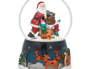 "5.5"" Elves Helping Santa Delivering Gifts Music Snow Globe"