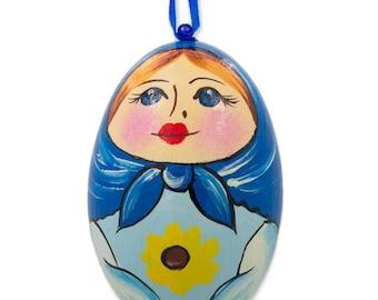 "3"" Russian Nesting Doll Matryoshka Blue Scarf Wooden Egg Ornament"