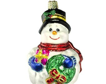 """4.25"""" Lumpy Snowman with Wreath Glass Christmas Ornament"""