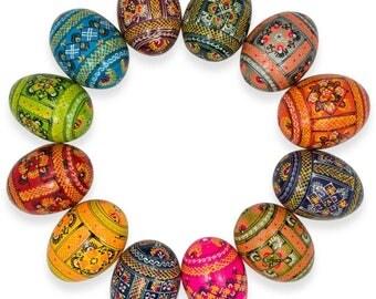 "2.5"" Set of 12 Ukrainian Hand Painted Pysanky Wooden Easter Eggs"
