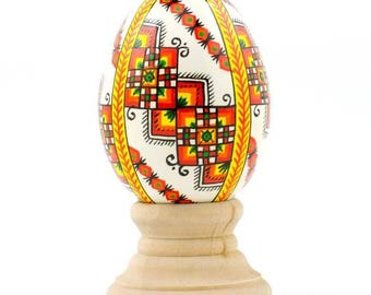 Diamond Stripe Wooden Easter Egg