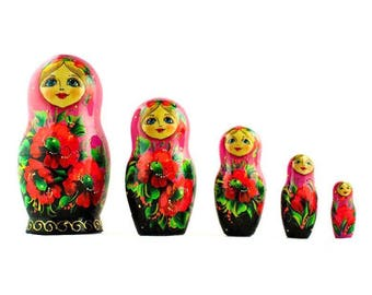 "7"" Set of 5 Pink Scarf with Poppy Flowers Matryoshka Russian Nesting Dolls"