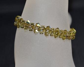 Bracelet fine crystal Swarovski kaki ab