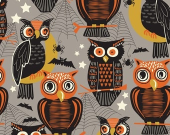Spooktacular - Who's There Grey - by Maude Assbury - 100% Premium Cotton Fabric (Blend Fabrics  101.107.13.2)