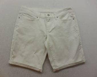 Womens Cream Wash Stretch Denim Levi's Cuffed Bermuda Jean Shorts Size 27