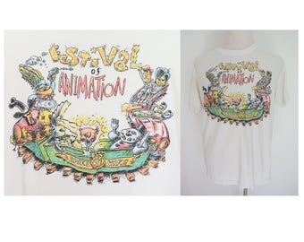 Vintage 1990 Spike and Mike Festival of Animation white tee