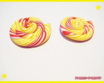 2 beads red yellow multicolor polymer clay lollipop