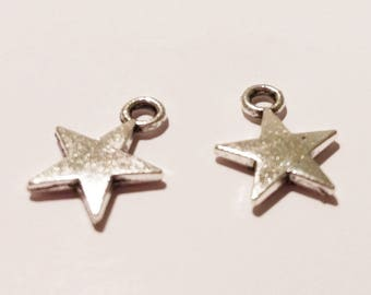 2 charms silver stars beads